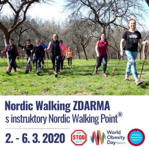 V týdnu od 2. do 6. 3. u příležitosti Světového dne obezity připravili instruktoři sítě Nordic Walking Point (NWP) ve spolupráci se STOB (Stop obezitě) zdarma lekce nordic walking pro veřejnost po celé ČR.